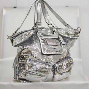 Coach RARE!! spotlight sequin silver tote bag